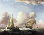 Monamy, Peter A Small Sailing boat and a merchantman at sea in a rising Wind oil painting picture wholesale